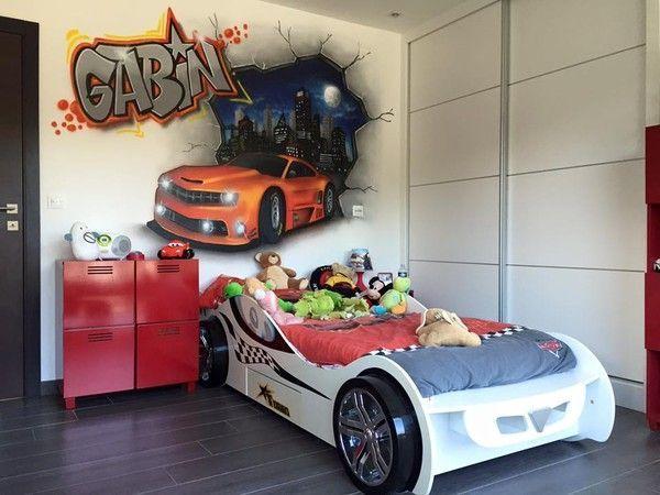 Chambre Garcon Sport : Décoration graffiti voiture sport graff tag chambre d enfant
